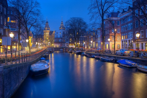 Night lights along Amsterdam canal