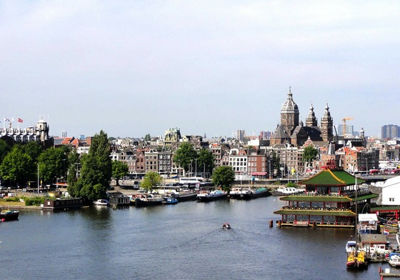 A view of Amsterdam city from the river