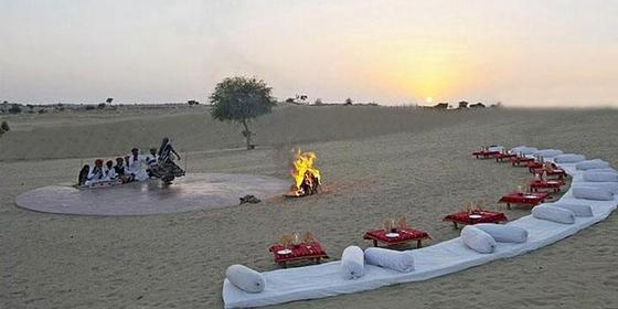 Camping facilities in desert