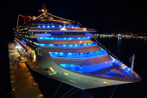 Night lights on a Caribbean cruise ship