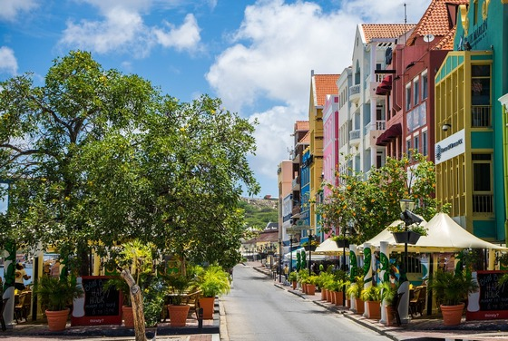Colourful street in Curacao, Antilles