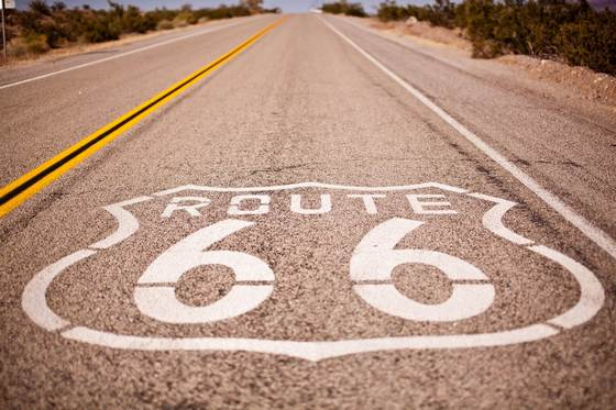 An empty Route 66 highway stretch.