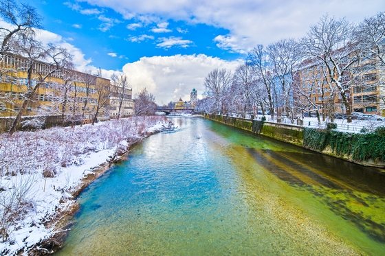 Winter on Isar River in Munich