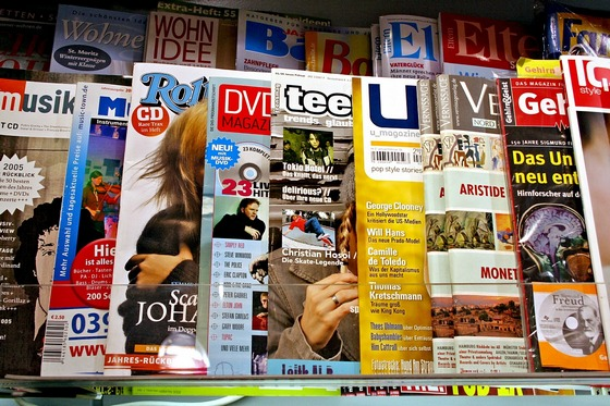 Magazines at news stand