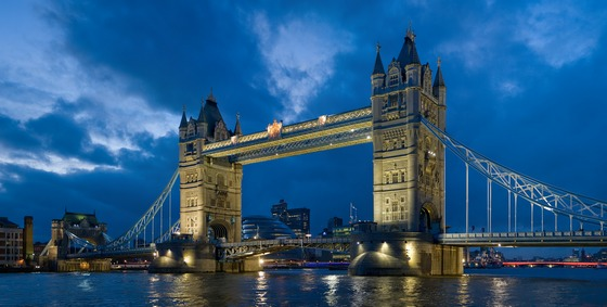 London's Tower Bridge in twilight