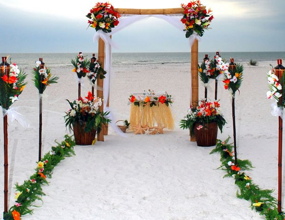 Wedding arrangements on a tropical beach